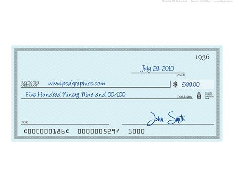 Cheque Design Template blue check psd template psdgraphics