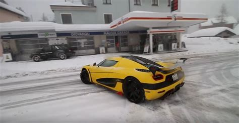 koenigsegg winter 1 160 hp koenigsegg agera rs ml plows the snow in swiss