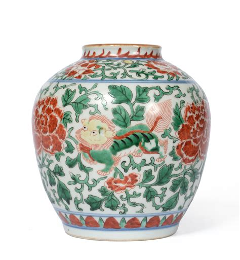Porcelain Vase A Chinese Wucai Porcelain Vase In Transitional Style