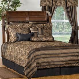 Winslow brown and gold paisley and striped comforter set by victor