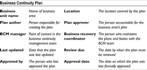 appendix  basic business continuity plan template disaster recovery crisis response