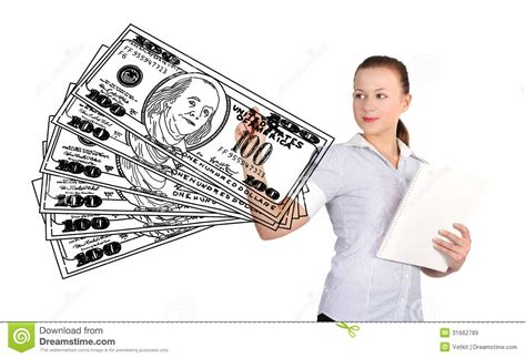 businesswoman drawing money royalty free stock images