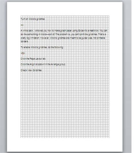 How To Make Graph Paper In Word 2010 - display gridlines in a microsoft word document techrepublic