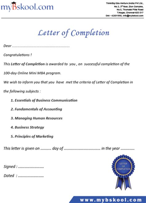 Certificate Letter Of Completion Register For Free Mini Mba Course Durofy