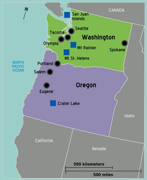 map of nw usa pacific northwest travel guide at wikivoyage