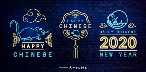 chinese  year neon banner set vector