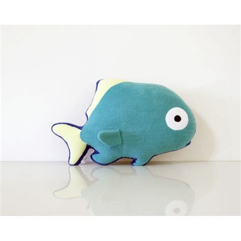 Fish Pillow by Turquoise Fish Pillow Blue