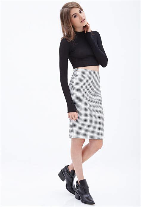 forever 21 checkered pencil skirt in black lyst