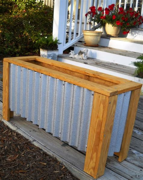 Corrugated Iron Planters diy corrugated steel wood planter box exterior home