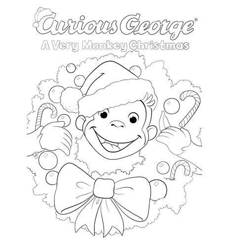 merry christmas curious george coloring pages curious george printables pbs kids