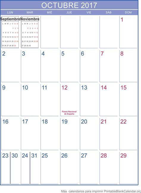 Calendario Octubre Noviembre 2017 Octubre 2017 Calendario Para Imprimir Calendarios Para