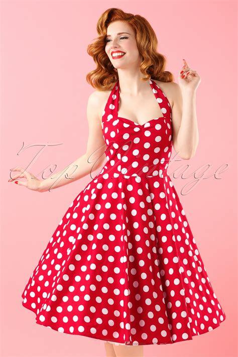 Baju Retro Polkadot 50s meriam polkadot swing dress in and white