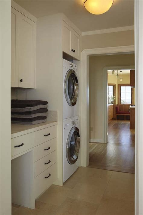 laundry in kitchen ideas stackable washer dryer laundry room traditional with built