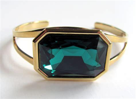 One Size Fits Most Bracelet emerald swarovski gold plated cuff bracelet one size fits