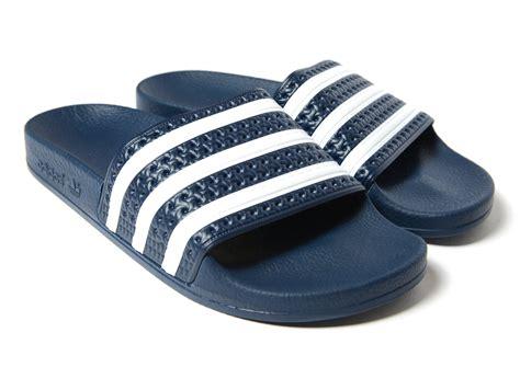 Sendal Sandal Adidas Adilette Biru Dongker Navy Original Murah adidas originals adilette slides in blue lyst