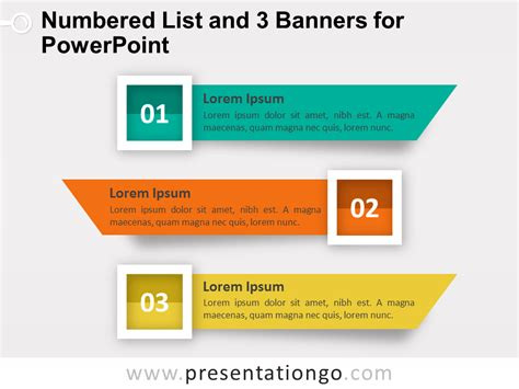 powerpoint list templates numbered list and 3 banners for powerpoint