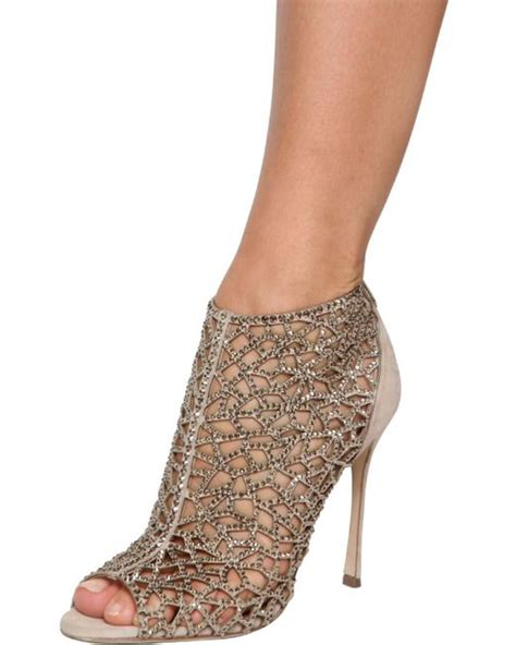 2 Die 4 Sergio Suede Boots by Sergio Mermaid Swarovski Booties In Metallic