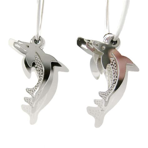 unique dolphin shaped animal themed dangle hoop earrings