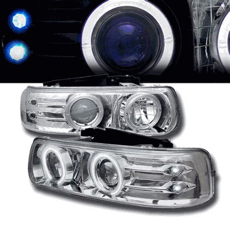 99 02 chevy silverado tahoe suburban eye halo led projector headlights chrome