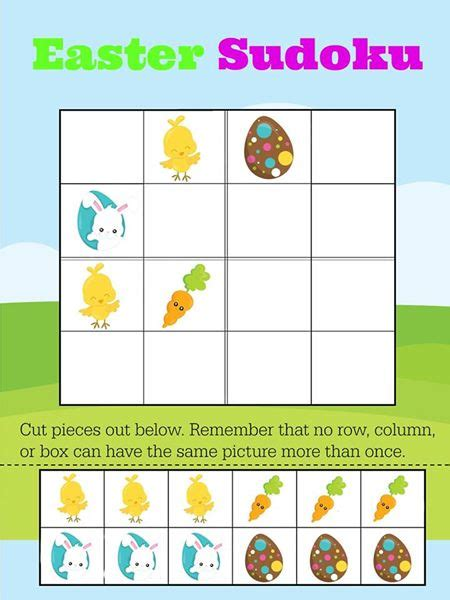 Printable Sudoku For Preschoolers | free printable easy easter sudoku for preschool primary math