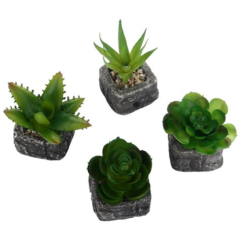 mini succulent planters green artificial faux mini succulent plants pebble sand