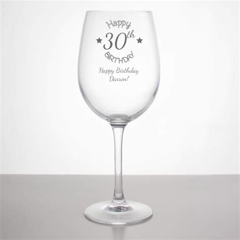 wine glass birthday personalised 30th birthday wine glass