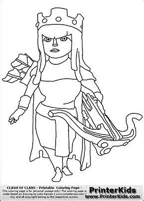 Clash Of Clans Archer Queen Coloring Page | Clash of clans