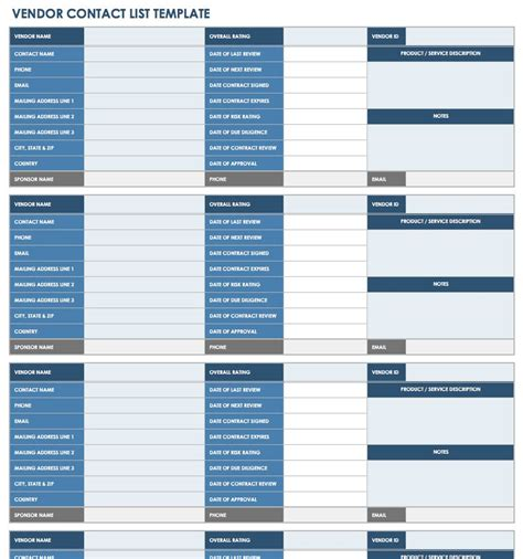 vendor contact information template 13 free vendor templates smartsheet