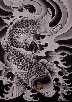 koi tattoo chris garver japanese wave drawing traditional japanese tattoo by