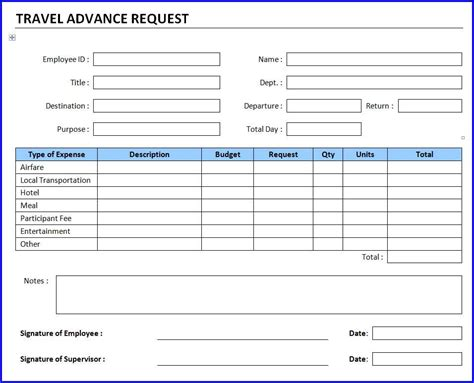 travel advance request template ms word templates
