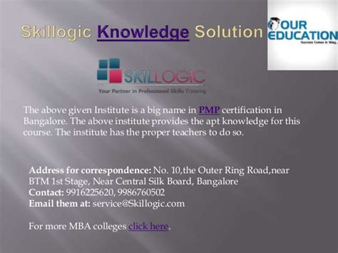 Mba Coaching Centres In Bangalore by Top Pmp Coaching Centers In Bangalore
