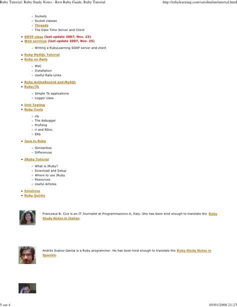 ruby tutorial website ruby 20tutorial 20ruby 20study 20notes 20 20best 20ruby