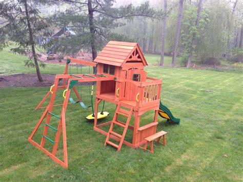 backyard discovery montpelier cedar wooden swing set yelp