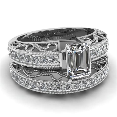 emerald cut wedding sets with white in 14k