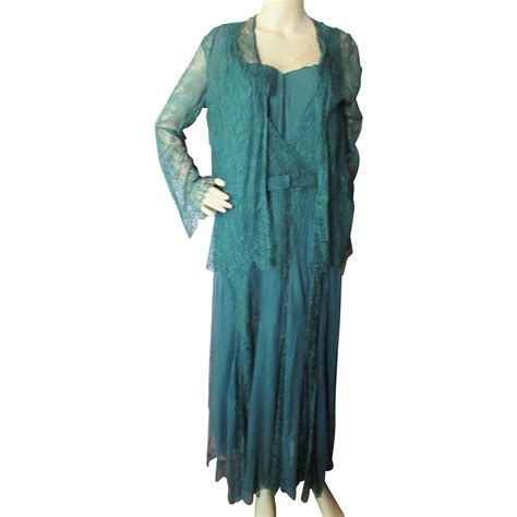 Lace Jacket Green 1930 style lace evening dress and jacket in emerald green