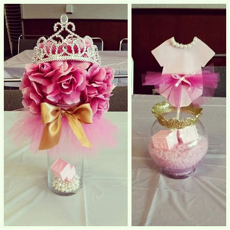 Baby Shower Table Center Pieces by Tutus Tiaras Baby Shower Centerpieces Pinkandgold My