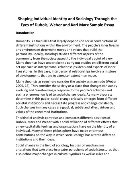 Sociology Essay by Shaping Individual Identity And Sociology Through The Of Dubois