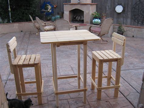 Diy Outdoor Bistro Table Diy Plans To Make Bar Table And Stool Set By Wingstoshop