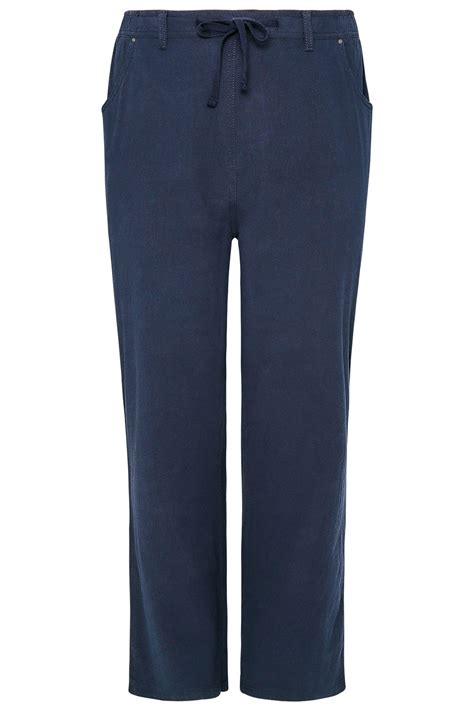 Can I Pull Up My Criminal Record Navy Cool Cotton Pull On Wide Leg Trousers With Pockets
