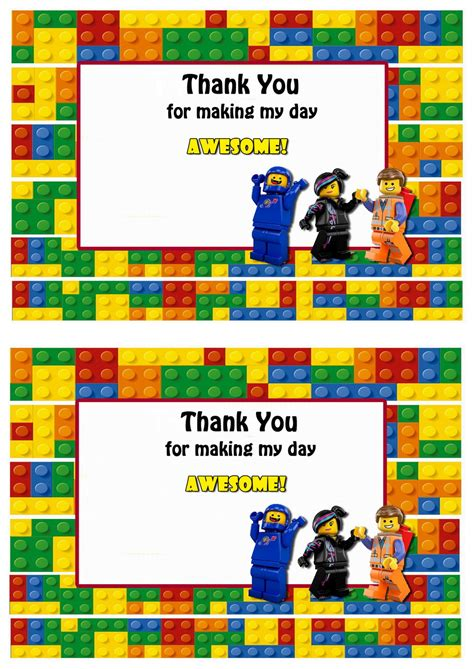 printable lego thank you cards lego movie thank you cards birthday printable