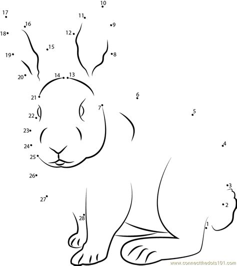 printable rabbit dot to dot sitting rabbit dot to dot printable worksheet connect