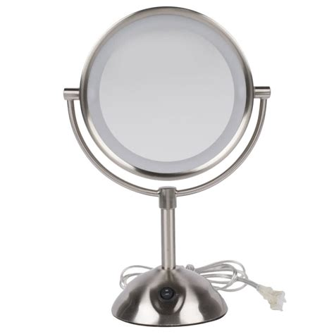 conair led lighted mirror conair be119wh 8 1 2 quot satin nickel freestanding led
