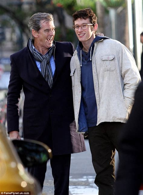 american actors living in new york pierce brosnan laughs with co star callum turner on set of