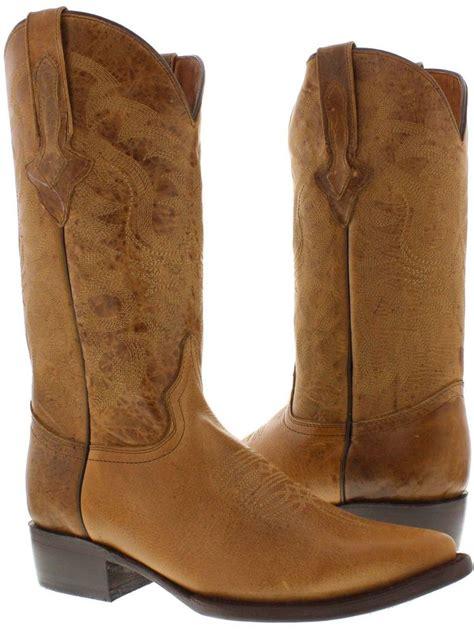 mens leather cowboy boots s original light brown plain leather western