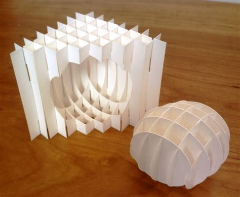 How To Make A 3d Sphere With Paper - sliceform spherically notched triangle with sphere paper