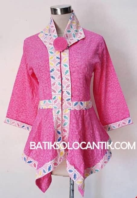 Blus Batik Embos Cap Ba6776 baju kerja wanita modern model batik emboss merah baju