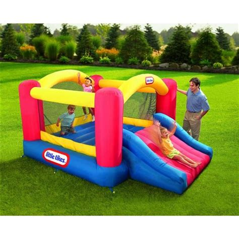 little tikes inflatable bounce house little tikes jump n slide inflatable bouncer house w blower and repair kit new