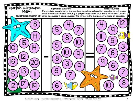 subtraction printable board games these subtraction board games all have a sea theme kids
