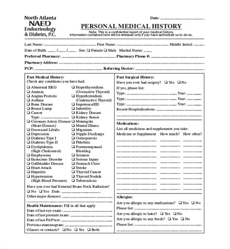 personal medical history template anuvrat info