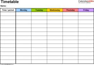 Timetable School Template by Timetables As Free Printable Templates For Microsoft Word